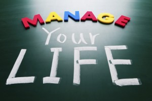 Manage your life, conceptual words on blackboard.